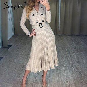 Simplee Vintage pleated belt plaid dress women Elegant office ladies blazer dresses Long sleeve female autumn midi party dress CX200708