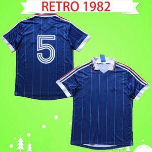 France Francia Frankreich 1982 1983 RETRO camicia di jersey di calcio a casa blu annata di calcio 82 83 Classic Maglia qualità Thai del piede