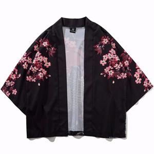 Koi Fish Printed Кимоно куртки китайского стиля Mens Harajuku Streetwear пальто куртки лето Тонкой Одежда Сыпучие Кимоно Мужская одежда