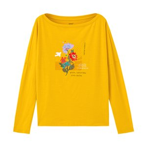 INMAN 2020 Spring New Arrival Literary Printed Round Collar Dropped Shoulder Long Sleeve Loose Pullover All-match T-shirt CX200709