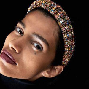Bunte voller Kristallstirnband-Haar-Band Strass Padded Stirnband-Partei-Hochzeit Haarband für Frauen-Mädchen-Haar-Zusätze Kopfbedeckungen Geschenk