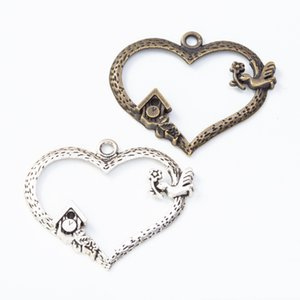 50pcs 34 * 40MM de la vendimia de color plata encantos del corazón de bronce antigua casa del pájaro colgantes para pulsera pendiente toma de joyería de bricolaje
