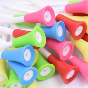 Plastik Çift Yumuşak Plastik Golf İğnesi bulucu 83mm5 Renk Golf Koltuk Tee Ball Destek Yumuşak Plastik golf topları Kafa aralığı