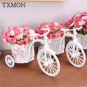 Mini rustic style artificial fake flower set Flower + vase holiday living room garden Photo props decoration silk