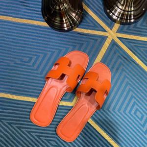 Tasarımcı Bayan Terlik Oran Luxur Turuncu klasik H Yumuşak deri düz sandalet Yaz moda Yüksek Kalite ile Kutu Boyutu 35-40