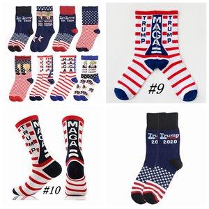 Trump 2020 Meias Presidente Meias MAGA Trump Carta estrelas listradas US Bandeira Sports Meias MAGA Sock Partido CYZ2526 Favor