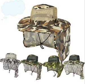 قبعات القابلة للإزالة camouflags قبعة البعوض قبعة الصيد ماء مع الرقبة رفرف في الهواء الطلق المشي لمسافات طويلة غسلها شاطئ sunsreen كاب الشمس قبعات LSK499