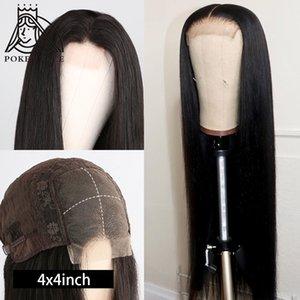 لعبة البوكر الوجه 4X4 الرباط إغلاق شعر مستعار على التوالي 28 30 inche الرباط الباروكة 150 الكثافة البرازيلي الجبهة الرباط الباروكات الإنسان الشعر ريمي