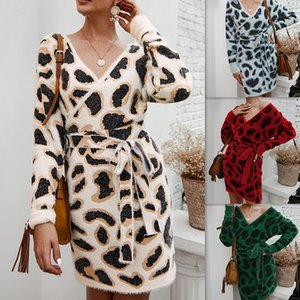 Sexy Vneck Long Sleeve Casual Dresses Women Designers Leopard Print Woolen Dresses Fashion Bandage Women Apparel