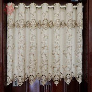 Корейский стиль хаки цветочной вышивка высокого затенение половинного занавес эркер занавес кофе кухня комната Кортинас rideaux SP5444