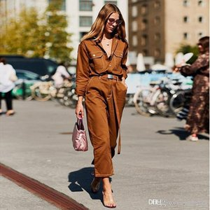 Europe explosion models 2020 autumn speed selling trousers hot new street shooting pants women's fashion slim denim jumpsuit women&#039