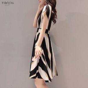 3Xl Women Stripe Knee Length Dress Vintage Style Women Elegant Dress Summer Short Sleeve O Neck Knee Length Shift Designer Clothes