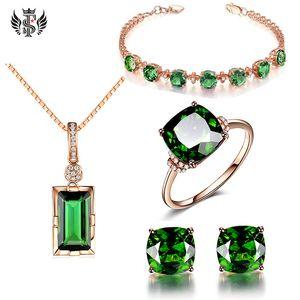 Fortunati a quattro foglie Bracciale Trifoglio verde smeraldo della pietra preziosa dell'argento Piazza cristallo quattro artigli orecchini verde tormalina pendente della pietra preziosa