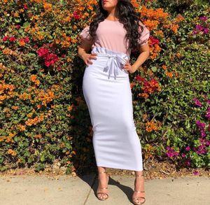 Ruffles Lace-up cintura alta saias longas Mulheres muçulmanas tornozelo comprimento Bodycon Pencil Skirt Elastic Hip Sólidos Harajuku Streetwear 2020