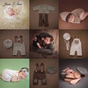 Jane Z Ann Newborn Foto Baby Fotografie Spitze-Rock westliche Kleidung im europäischen Stil Weste Hose Hut Kleidung Requisiten Alyx #