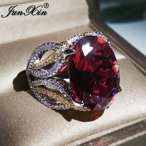 Luxo Big Red Rings Oval de pedra para grandes faixas de casamento de Cristal Zircon Mulheres Ouro Branco Vintage anel de noivado Jóias CZ