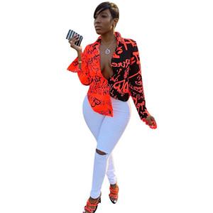 Designer Contraste Lettres couleur Chemises Femmes Casual vrac manches longues cou Chemises Lapel Mode Blouses Femmes