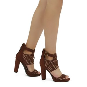 New Women Platform Cut Out Sandals Square High Heels Shoes Nice Open Toe Brown Party Prom Shoes Women US Plus Size 4-15