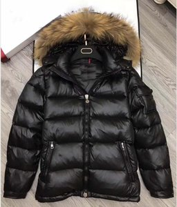 Raccoon fur down coat zipper black winter british style men down jacket hood coat classic keep warm Thick Parka Men's Down jacket S-XXXL