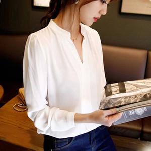 CINESSD Casual femme Blouses en mousseline de soie stand col en V solides manches longues Bureau dames Hauts Blanc Mode Slim T-shirt 2020 Chemisier