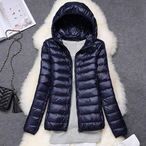 2020 Autumn Winter Down Jacket Women Hooded Duck Down Ultra Light Portable Oversize Jacket Female Solid Warm Basic Jackets Woman