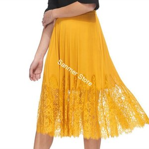 Women Pleated Skirts Lace Stitching High Waist 2020 Spring Summer Lady Midi Skirt New