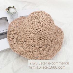 Corea del sombrero nuevo sol hechas a mano de la paja crochet gran ventaja de paja tejida literaria de verano para niños del sombrero del sol