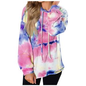 2020 Fashion Womens Tie Dye Hooded Sweatshirt Ladies Baggy Pullover Tops Autumn Long Sleeve Loose Drawstring Jumper Hoodies