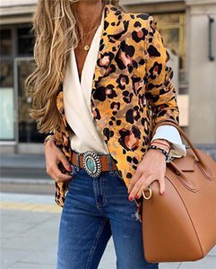 Cardigan Leopard Womens Blazers Spring Autumn Slim Casual Long Sleeve Coats OL Style Brief Designer One Button Coats V Neck