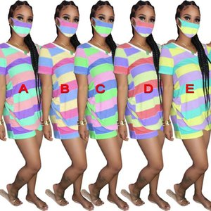 Women 3 piece Outfits set with Face Mask Color stripes print t shirt shorts tracksuits summer clothes casual 2 two piece plus size clothing