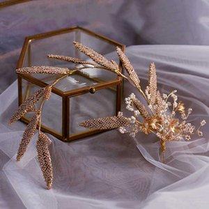Goldblatt-Tiara-Kronen Diadema Hochzeit Stirnband Frauen-Haar-Schmucksache-Perlen-Korn-Haar-Verzierung