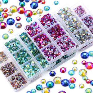 3168pcs Mix Tailles Non Hot Fix Strass Set Flatback Cristal Perles Nail Art Strass verre pour le bricolage Décoration Strass