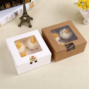 16x16x7.5cm Cavity Clear Window Kreative Kraft Braun Weiß Kuchen-Kästen Muffin Verpackung Box LZ0745