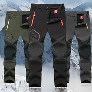 Los hombres de esquí de lana Pantalones Senderismo Trekking acampa de la pesca subida Ejecutar los pantalones más el tamaño 5XL de gran tamaño pantalones impermeable al aire libre