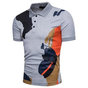 Neck Man Polos Casual Slim Panelled Summer Printed Mens Tops Contrast Color Mens Polos Fashion Lapel