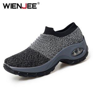 WIENJEE 2020 İlkbahar Kadınlar Sneakers Kadınlar Siyah Nefes Mesh Çorap Ayakkabı Platform Spor Ayakkabılar üzerinde düz Kayma Ayakkabı