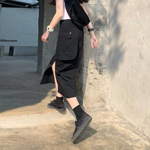 iQd6C Season 2020 new commuting long long skirt high waist loose design sense split pocket Medium-length dress solid color skirt female stud
