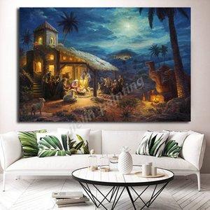 Thomas Kinkade Nativity Christmas Tree Collection su tela pittura a olio di poster arte della parete per Soggiorno Home Decor