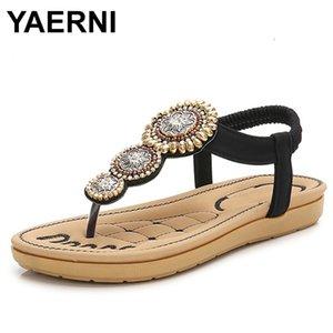 YAERNI nueva llegada del verano mujeres de las sandalias gladiador plana gruesos zapatos inferiores señoras ocasionales Bohemia sandalias