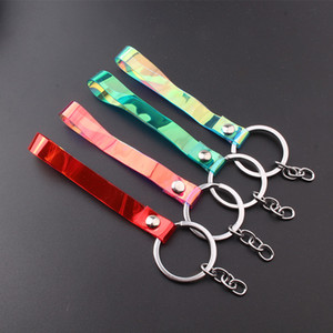 Colorful leather cord keychain laser exquisite gifts wholesale custom car bag pendant creative direct marketing