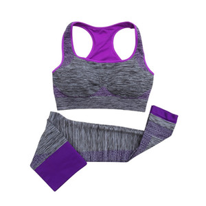 Women Tracksuit Fitness Set Clothes Seamless Push Up Padded Bra+ Leggings Breathable 2 Pcs Set