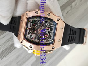 mens designer watchesLuxry selling RM11-03RG hollow out Big Date Dial Automatic RM 11-03 50mm Mens Watch Rose Gold Case black Ru
