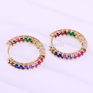 5Pairs 25mm, Rainbow cz circle hoop earring for lady fashion jewelry colorful cubic zirconia high quality Gold color earring
