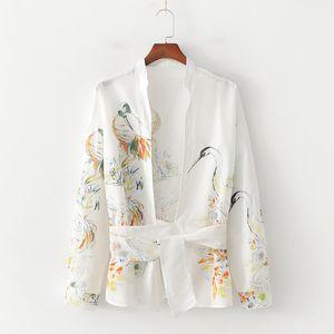 Women Summer Fashion Animal Print White Za Blouse Chic Female Long Sleeve Silk Satin Cardigan Shirts blusas mujer de moda 2019 Y200622