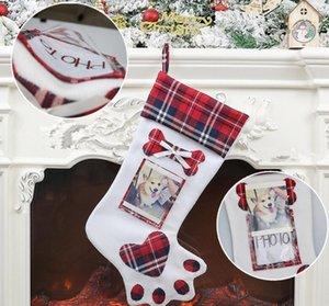 Dog Paw Christmas Stocking Christmas Xmas Stocks Pendant Decorations Kids Gift Bags Candy Bag Stockings Can Put Photo GGA2946-3