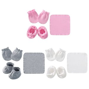Baby Newborn Saliva Towel Gloves Foot Cover Set Soft Cotton Anti Scratch Mittens Feeding Burp Cloth Bib Socks