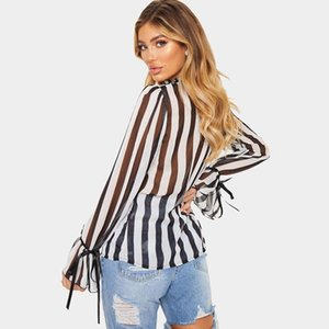 Dudalina Women Sexy Half Turtleneck Flare Sleeve Top Striped Perspective Loose Chiffon Shirt Women Black And White Stripes Shirt