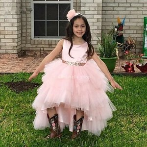 Cute Pink Flower Girls Dresses High Low Puffy High Low Sleeveless Sequins Ball Gown Bow Sash Girls Pageant Dresses Vestidos