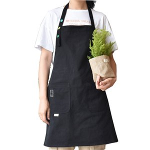 New 100% Cotton Apron Coffee Shop And Hairdresser Sleeveless Work Apron Bib Cooking Kitchen Aprons For Woman Chef Baking Aprons