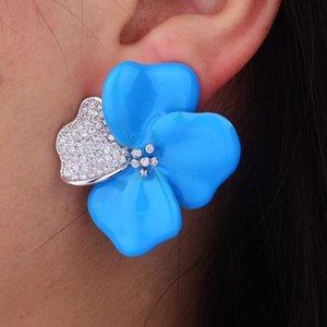 GODKI 40MM Begonia Flowers Fashion Design di lusso popolare Iregular Geometria pieno orecchini zirconi Orecchini Pave